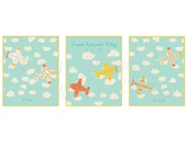 Nursery Art - Airplanes up in the Sky - PDF - DIY - Set of 3 Images - Customized