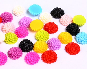 Wholesale 40pc Lucite mum dahlia resin flower cab cabochon mixed color 10mm (946) - Flat rate shipping