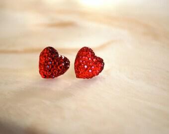 Red Heart Earrings -- Red Hearts, Silver