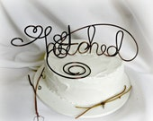 Country Wedding Decor, Cottage Chic Cake Topper, Hitched
