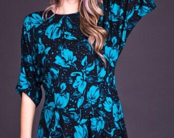 SALE 50% OFF 90s Vintage Turquoise & Black Floral Print Tunic
