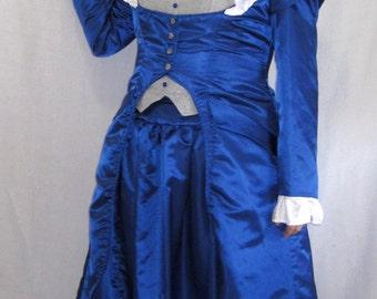Blue Taffeta Victorian Steampunk Dress Costume