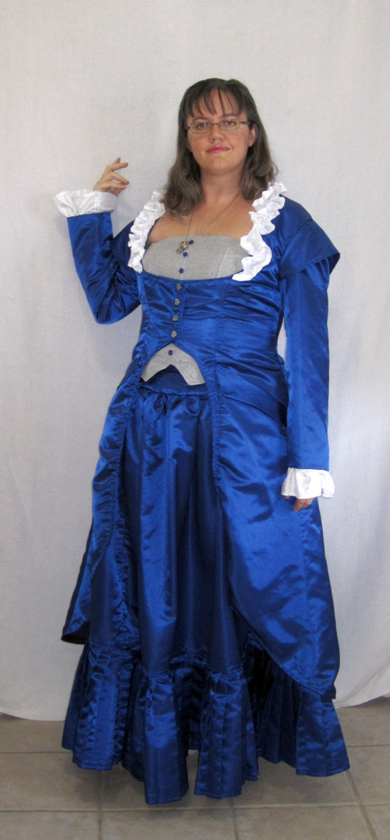 blue taffeta victorian steampunk dress costume