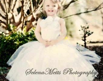 Flower Girl Tutu Dress Floor Length Sewn Tutu Dress White with Satin Corset and Satin Flower Hair Clip CUSTOMIZABLE