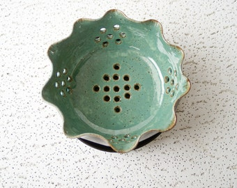 Green Ceramic Berry Bowl, Pottery Berry Bowl, Ceramic Strainer Colander, Wheel Thrown Pottery