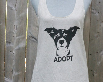 All sizes women's Animal rights rescue  OATMEAL tank top ADOPT Rex shirt vegan- Benefits dog cat rescue