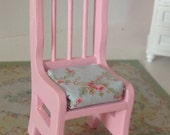 "Dollhouse Miniature Romantic Shabby Chic Chair with Designer Cushion, ""Caroline"", Scale One Inch"