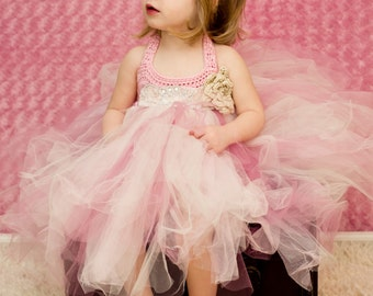 Toddler Tutu Dress Baby Girl Tutu Dress Light Pink  Rose Pink Ivory Flower Girl Dress Birthday Girl Dress Crochet Top Tutu Dress