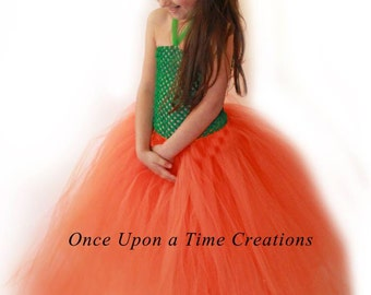 Pretty Little Pumpkin Tutu Dress - Photo Prop, Halloween Costume - Girls Size 3 6 9 12 18 Months 2T 3T 4T 5T6 7 8 10 12 - Fall Pageant Gown
