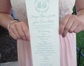 Custom Wedding Program, Tea Length with Border Monogram