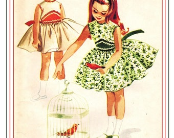 McCall's 5427 Vintage 60s Lovely Toddler Girls Party Dress and Petticoat Organdy Lined Bodice Sewing Pattern Size 4