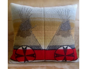 Tepee Wool Pillow - Native American Geometric Tribal Red Indian