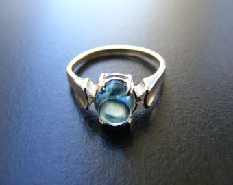 15% Off Sale.S267 New Sterling Silver Simple Flare designed ring with 1 carat  Natural Blue Topaz oval cabochon