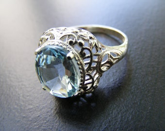 S107  Sterling Silver Ornate Design Filigree Ring with 7 carat Natural Sky Blue Topaz Gemstone