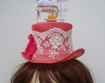 Marie Antoinette's wedding mini top hat headpiece fascinator Steampunk bride  shabby roses and cake