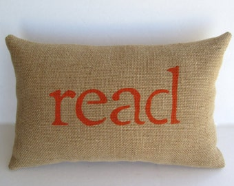 Read pillow, book lover, orange pillow, reading nook pillow, accent pillow by whimsysweetwhimsy