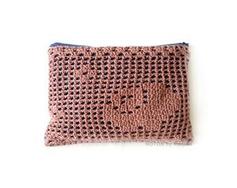Rose Quartz Crochet Clutch, Clutch Bag, Denim Clutch Purse