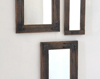 Three Mirrors - Collage - Rustic Industrial Eco Decor - Reclaimed Wood - Hurd and Honey - For Your Home - Collage