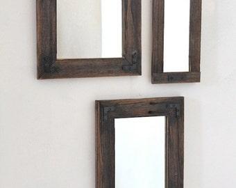 Rustic Mirror - Mirror Collage - Set of Three - Reclaimed Wood - Farmhouse - Decorative Mirrors - Rustic Home Decor - Wall Mirror