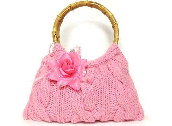 SALE SALE SALE hand knit purse cotton candy pink cute purse handbag bamboo handles and pink adorable flower Valentines day gift or for you