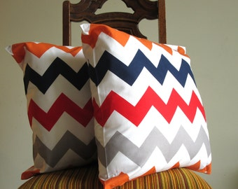 Orange Navy Red Grey chevron pillow throw big 18 x 18 modern bold White zig zag Riley Blake Handmade cotton Home Decorative Set of TWO