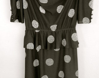 XS S Extra Small Vintage Peplum 80s Semi Sheer Black White Graphic Polka Dot Print Indie Hipster Short Sleeve Dress