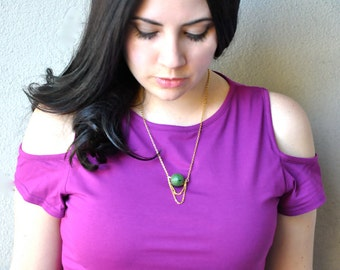 Jade and Gold Chain Pendant Necklace
