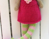 Hand Knit Stuffed Rag Doll Ready to Ship Plush Doll Knit Toy Baby Room Decor Keepsake Doll Miley