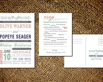 Classic Vintage Wedding Invitation & Mad Libs RSVP Card - Old Fashioned Style - Printable DIY