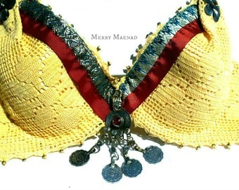 Lace Tribal Fusion Belly Dance bra with Kuchi coins. 34-36 B/C. OOAK Belly Dancing costume.
