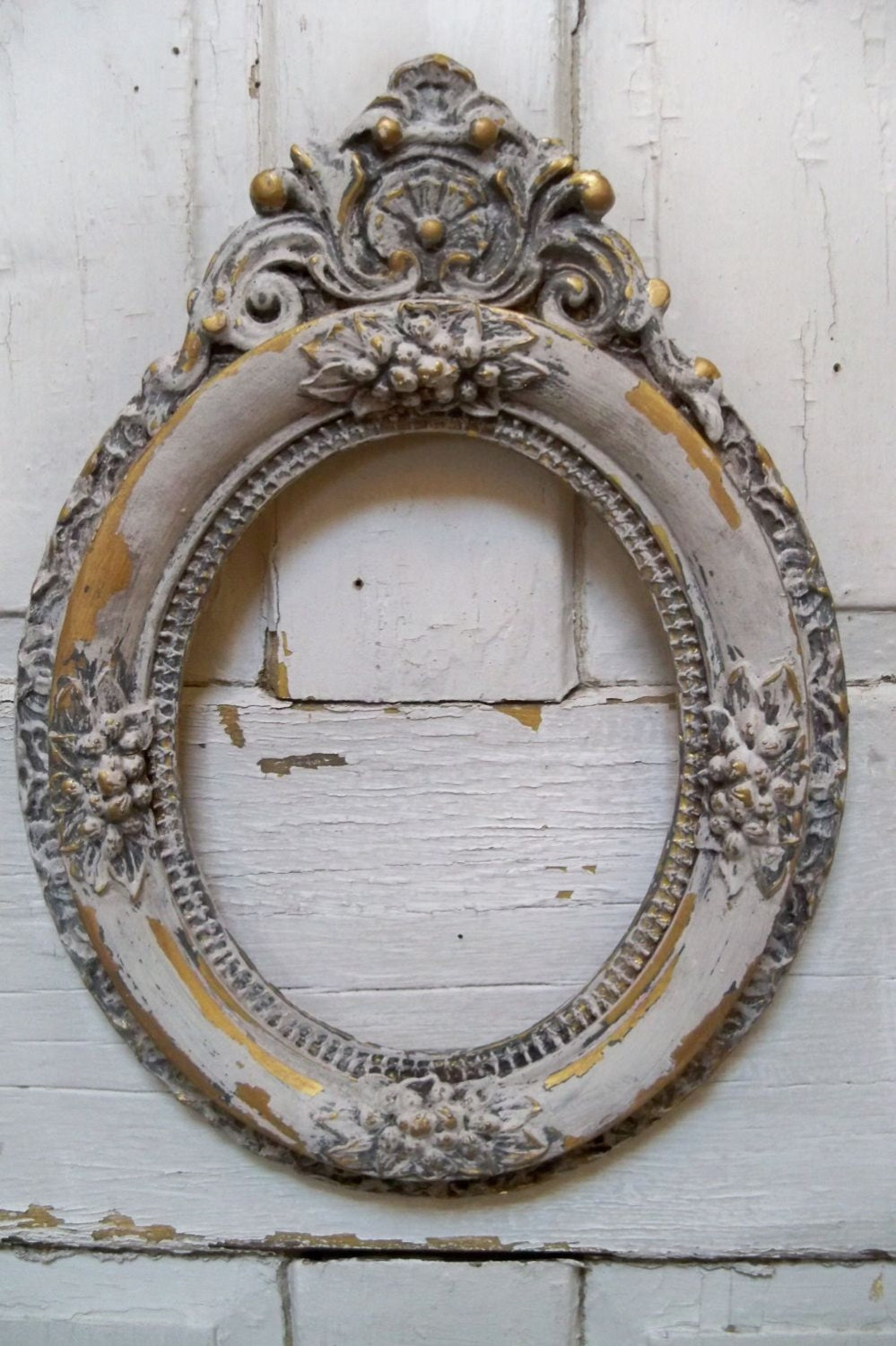 Ornate Wood Oval Frame Distressed Aged White By