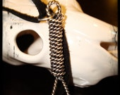 Sterling Silver Noose Pendant with Braided Black Leather Strap