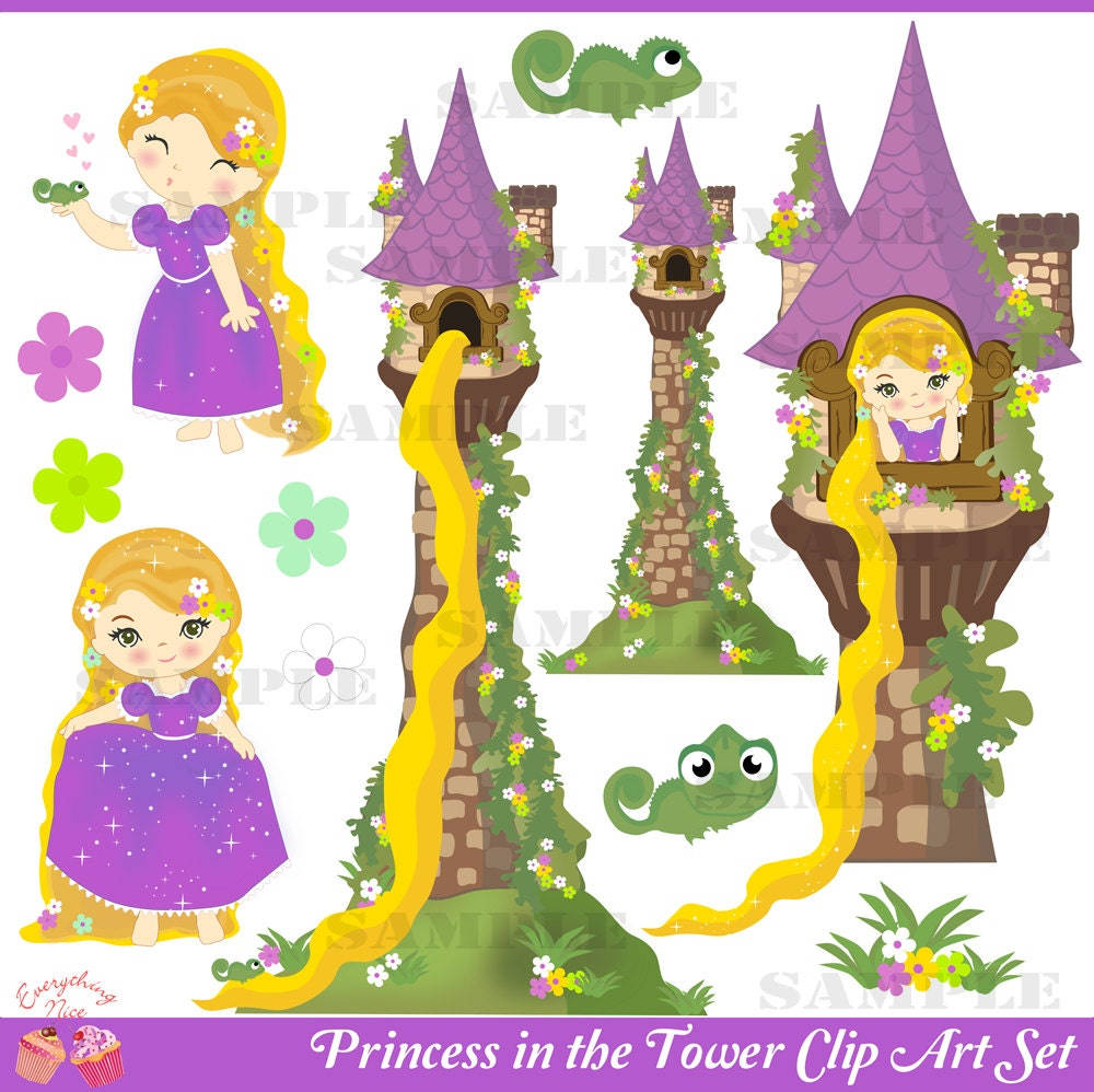 Clip Art Rapunzel Clipart rapunzel clipart etsy princess in the tower clip art set