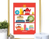 Cathrineholm Mid Century Modern shelves Cathrineholm enamelware Poster Art Kitchen wall art RED background - A3 size - mid century kitchen