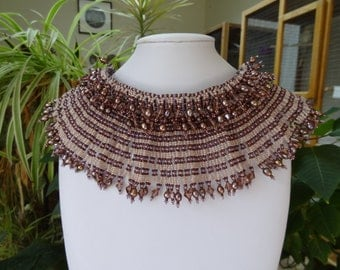 SALE, Netted Stitch, Chocher with Egyptian Collar in Plum with Crystals and Plum Fresh Water Pearls.