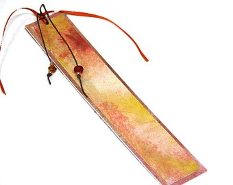 Hand-painted bookmark / gift under 10 dollars / abstract / yellow / pink / multicolor / beaded BK-38