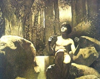 1911 Maxfield PARRISH PAN in the WOODS Fairy Tale Print