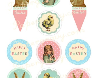 Instant Download PRINTABLE Vintage Easter Cupcake Toppers