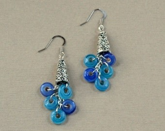 Boho Blue Silver Dangle Earrings Aqua India Glass Tassels Discs Bohemian Swirl Cones Fashion Jewelry Jewellery Free Shipping