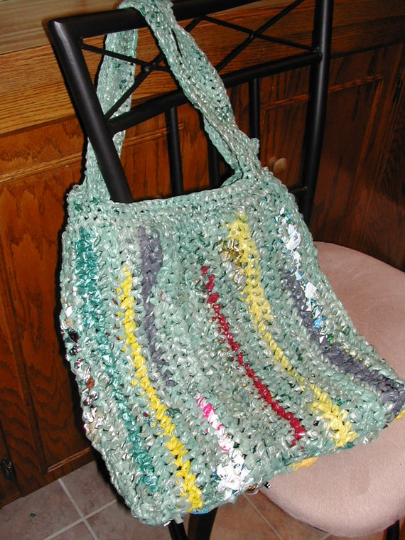 Vertical Stripe Plarn Small Tote OOAK Lined