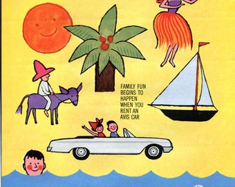 Avis Car Rental Ad 1960's Vintage Original Family Vacation Beach Summer Yellow Orange