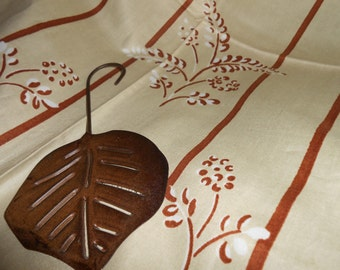 Cotton Fabric Vintage Floral Stripe Mid Century