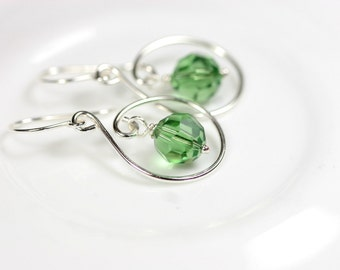 Green Swarovski Earrings Wire Wrapped Jewelry Handmade Sterling Silver Jewelry Handmade Swarovski Crystal Earrings Swarovski Crystal Jewelry