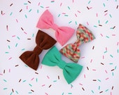 Ice Cream Collection Hair Bow with French Barrette - Choose from 4 vintage fabric options - 90s Hair Bow