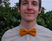 SALE! Mustard Corduroy Bow Tie - Vintage Fabric Clip-On Bowtie