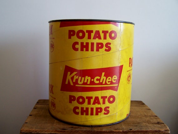 snack time -  retro Krun-Chee potato chip container made by Sunshine Biscuits