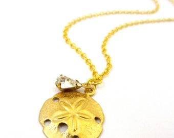 Beach Charm Necklace with Vintage Crystal, Gold Sand Dollar, Bridesmaids Necklace, Beach Wedding