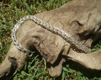 Handmade sterling silver weaved chainmaille bracelet/custom order