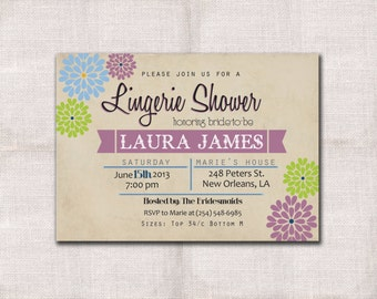 5x7 Lingerie Party invitation custom printable