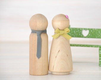 8 Wooden Peg Dolls - Unfinished Wooden People - Husband & Wife wooden dolls in a Muslin bag - Set of 8  - DIY Wood Crafts